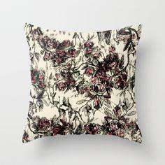 vintage rose Throw Pillow by Kociara - $20.00