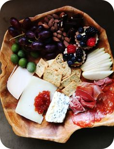 I love cheese platters. Perfect for hosting or a date night for two, no cooking required.  Just a glass of wine. :)