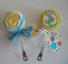 Washcloth lollipops!  Baby shower gift!!!