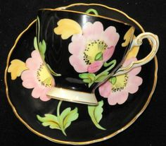 ROYAL TUSCAN PASTEL HP FLOWER PINK BLACK GOLD TEA CUP AND SAUCER
