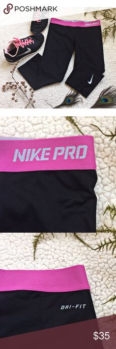 Nike Pro Spandex LOVE these lovely Nike Pro Spandex workout pants! Absolutely a must have for any fitness lover or even if you just want to have cute comfy leggings;) Size XS with the itchy tag cut out as shown:) Features a cute pink band with the Nike Pro lettering as well as the signature Nike Swoosh on the leg:) Nike Pants Leggings