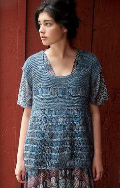 Interesting knitted tunic pattern (garter and a dropped stitch... quick and easy)