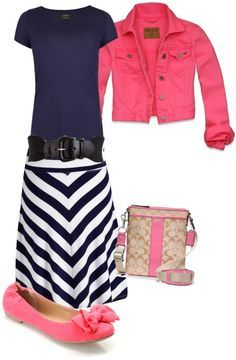 modest outfit ideas navy.... I have a hot pink vest I could make this outfit with :)