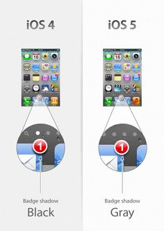 iOS 4 vs iOS 5, tiny visual updates
