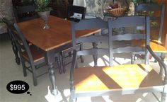 Modern 2 tone farm house style table with a leaf, 4 side chairs, and a bench banquette.    Yesterdays Treasures Consignment  1185 Second Street Suite H  Brentwood, CA 94513  925.516.8549  www.Yesterdayststore.com  Info@yesterdayststore.com