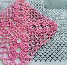 Ideas For Crochet Edging Chunky Crochet Blanket Edging, Crochet Lace Edging, Crochet Motifs, Granny Square Crochet Pattern, Crochet Blocks, Crochet Squares, Thread Crochet, Crochet Doilies, Chunky Crochet