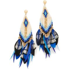 Gas Bijoux Huichol Plume Earrings ($319) ❤ liked on Polyvore featuring jewelry, earrings, pink jewelry, blue earrings, pink earrings, gas bijoux and earring jewelry