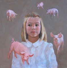 I paint to interpret and preserve the spirit of experiences which have meaning to me. Three reoccurring themes are gender roles, the inna. Pink Kids, Pink Child, Pig Images, Pig Drawing, Pig Art, Flying Pig, Man Ray, Gender Roles, My Childhood