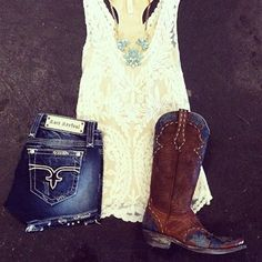 Summer Style | Old Gringo Cowgirl Boots | Cream All Lace Tank | Mint Statement Necklace | Rock Revival Shorts | Items Available at Hoity Toity