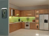 Mẫu tủ bếp Sồi Nga dành cho không gian bếp rộng