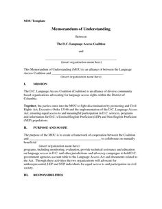 Memorandum of Understanding Form - MoU Template (with Sample ...