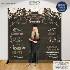 graduation backdrop Graduation Party Photo Booth Backdrop, Floral Graduation Step and Repeat Backdrop, Congrats Grad, Banner Printed Or Printable File Party Kulissen, Party Ideas, Party Fotos, Photos Booth, Graduation Decorations, Graduation Backdrops, Graduation Centerpiece, Photo Booth Backdrop, Photo Props