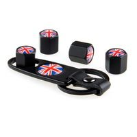 New Soupape Voitures Car Styling United Kingdom Flag  Black 4Pcs Car Wheel Airtight Tyre Tire Stem Air Valve Caps with Keychain