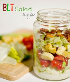 +BLT Salad in a jar. Pack a salad for lunch in a mason and just shake and eat. Weight Watcher's friendly recipe can be found at this link. 7 Point lunch.  ~  To THM-ify it, go with full-fat sour cream and mayo, and use half-n-half instead of regular milk... As we know, FAT is not bad for you!!!!
