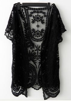 So Pretty! Love Black Lace! Black Lace Flowers Hollow-out V-neck Short Sleeve Lace Cardigan