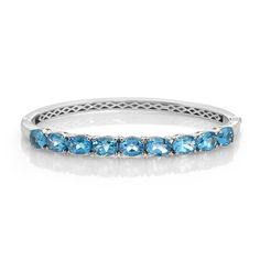 Liquidation Channel   Electric Blue Topaz Bangle in Platinum Overlay Sterling Silver (Nickel Free)