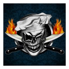 Customizable Winking Chef Skull Poster