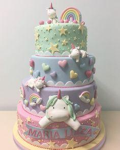 Unicorn cake- great first birthday cake Baby Cakes, Baby Shower Cakes, Baby Shower Cake For Girls, Cute Cakes, Pretty Cakes, Beautiful Cakes, Amazing Cakes, Unicorne Cake, 2 Tier Cake