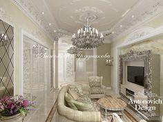 Интерьер белой гостиной в классическом стиле - Дизайн гостиной