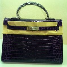 3fb5c011a29e Hermes Kelly 32 Crocodile Embossed Leather Purple Gold Bag Hermes Belt