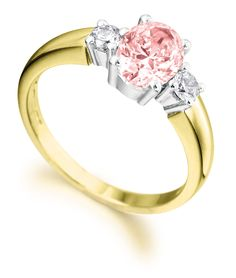 Pink and white diamond engagement ring by AEL Diamonds