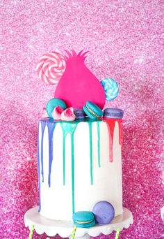 Troll Party Cake from a Trolls Birthday yParty with FREE Printables on Kara's Party Ideas | KarasPartyIdeas.com (18)