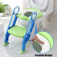 Trainer Toilet Potty Soft Padded Seat Chair Kids Toddler + Ladder Step Up Stool & $36.98 from Lowes. Toddler toilet seat nests in the lid. No more ...
