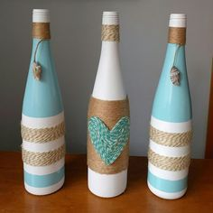 garrafas-decoradas-barbante-azul-branca.jpg (610×610)