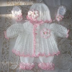 Crochet Baby Girl Sweater Set Layette with by MADEWITHLOVEBYSUZIEQ