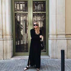 Because New York girls love black, all year 'round. Take your #allblackeverything wardrobe to summery heights by pairing a sleek maxi (like this Rodebjer one) with simple flat sandals. #refinery29 http://www.refinery29.com/july-outfit-of-the-day-ideas#slide-4