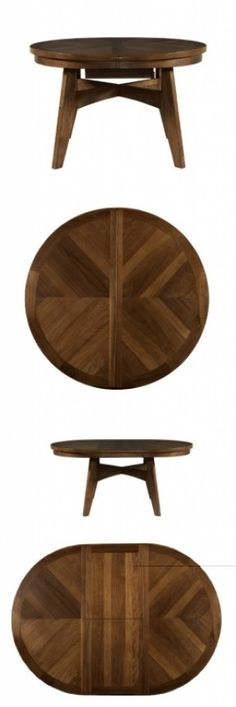 Powell Tiburon American Walnut Round to Oval Dining Table, The Tiburon Dining Table is a traditionally styled piece finished in an American Walnut. A spacious top expands from a round table to an oval with the use of a leaf. Thick, sturdy legs anchor the