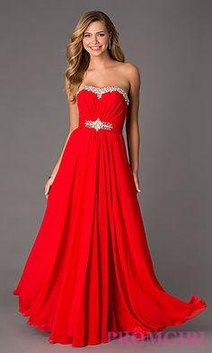 Floor Length Strapless Chiffon Dress by Swing Prom at PromGirl.com