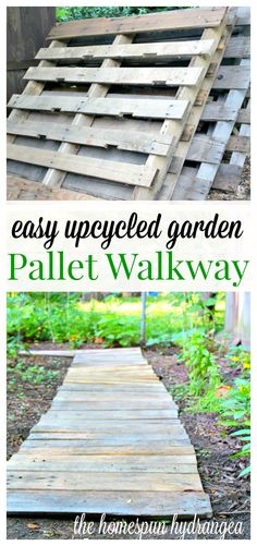 Easy Upcycled Garden Pallet Walkway - See how you can turn a couple of old wood pallets into an upcycled garden walkway!