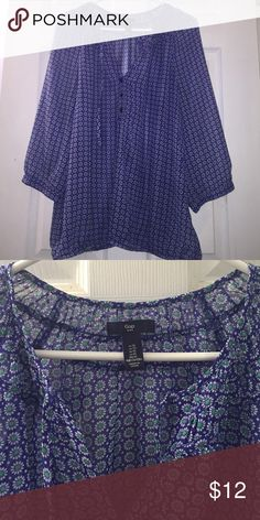Gap blouse. NWOT. Sz XL Gap patterned 3/4 sleeve blouse. New without tags. Size XL GAP Tops Blouses