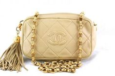 Chanel Beige Small Lambskin Classic Quilted Camera Case Bag