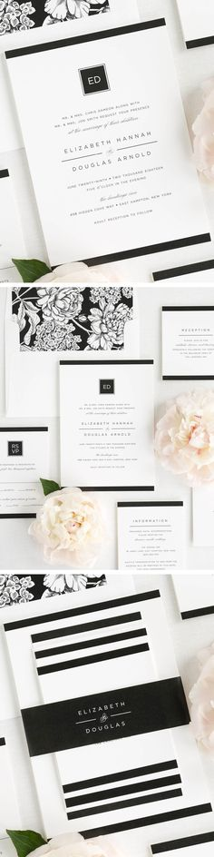 Sophisticated and contemporary, these modern wedding invitations are sure to make a bold impression on your guests. Shown in black with a hydrangea envelope liner and solid belly band.