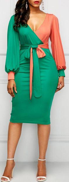 V Neck Belted Lantern Sleeve Sheath Dress African Attire, African Wear, African Fashion Dresses, African Dress, Sexy Dresses, Cute Dresses, Beautiful Dresses, Sheath Dresses, Dress Skirt