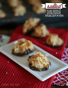 salted caramel macaroons - These look dangerous!  Coconut macaroons . . . yum, dipped in chocolate . . . yum, topped with salted caramel. . . and YUM!