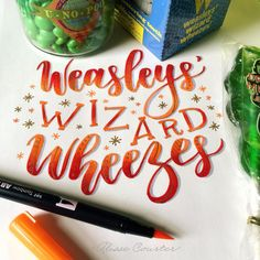 day 16 of lettering harry potter with and today's prompt is weasleys' wizard wheezes 💥💥 . Harry Potter Journal, Harry Potter Art, Hand Lettering Styles, Calligraphy Alphabet, Bullet Journal Inspiration, The Wiz, Notes, Prompt, Journaling