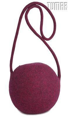 """Berries"" handbag. Handmade, solid felted (Ala Kiyiz technique). Felt: 100% wool. 20 x 18"
