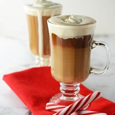 A coffee drink made with peppermint schnapps, chocolate liqueur and homemade whipped cream.