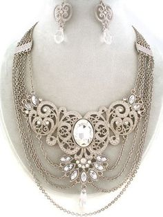 ART DECO RUNWAY SILVER FILIGREE CRYSTAL ART BIB HAUTE COUTURE NECKLACE EARRINGS
