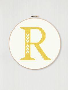 Cross stitch letter R pattern with chevron by LittleHouseBliss