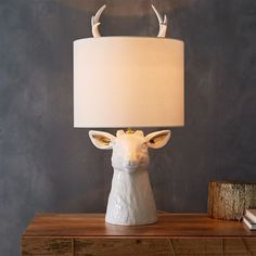 Lighting - Made of ceramic, our Nature Stag Table Lamp is the quirky bedside addition you've been hunting for. Bedside Table Lamps, Bedroom Lamps, Bedroom Lighting, Room Decor Bedroom, Home Lighting, Bed Lamps, Master Bedroom, Home Decor Styles, Home Decor Accessories