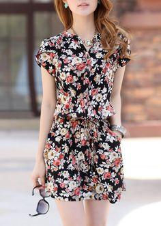 Korean version of the new 2014 summer elastic waist round neck short sleeve floral print dress bottoming dress dress dress Cheap Dresses, Nice Dresses, Casual Dresses, Summer Dresses, Dress Shorts Outfit, Dress Outfits, Fashion Dresses, Short Outfits, Short Dresses