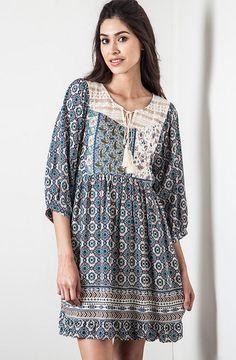 Navy Mixed Print Peasant Dress - Umgee – Thistle & Finn
