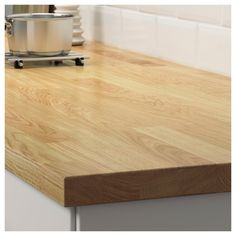 KARLBY Countertop for kitchen island, oak, veneer, This wood countertop combines the best of solid wood and veneer. With efficient use of natural resources, it offers a unique pattern and a durable surface that can be sanded. Kitchen Island Oak, Kitchen Worktop, David's Kitchen, Ikea Butcher Block, Butcher Block Countertops, Kitchen With Wood Countertops, Ikea Family, Modern Kitchens, Decorating Kitchen
