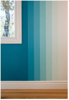 Cool 49 Pretty Ombre Wall Paint Designs Ideas For Living Room. # wall painting 49 Pretty Ombre Wall Paint Designs Ideas For Living Room Creative Wall Painting, Room Wall Painting, Creative Walls, House Painting, Wall Paintings, Wall Paint Patterns, Wall Paint Colors, Paint Walls, Painting Stripes On Walls