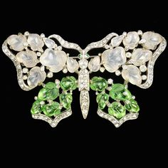 Trifari 'Alfred Philippe' Peridot and Moonstone Fruit Salad Butterfly Pin