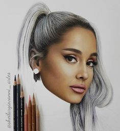 Realistic Pencils Drawings by Brazil based Artist Sheila R Giovanni. Realistic Pencil Drawings, Pencil Art Drawings, Portrait Sketches, Pencil Portrait, Bullet Journal Cover Ideas, Ariana Grande Drawings, Caran D'ache, Celebrity Drawings, Crayon Art
